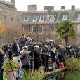 Les médias au palais de Kensington pour la séance photo officielle des fiançailles du prince Harry et de Meghan Markle le 27 novembre 2017 à Londres.