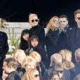 La Première Dame Brigitte Macron (Trogneux), David Hallyday, Laura Smet, Laeticia Hallyday, ses filles Jade et Joy devant l'église de la Madeleine pour les obsèques de Johnny Hallyday à Paris, France, le 9 décembre 2017. © Veeren/Bestimage