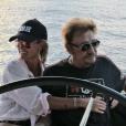 Johnny Hallyday et Laeticia, sortie en bateau à Saint-Barthélemy, le 30 août 2017.