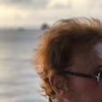 Johnny Hallyday en bateau à Siant-Barthélemy, le 27 août 2017.