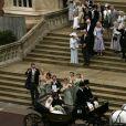 Image du mariage de Peter Phillips et Autumn Kelly à la chapelle St George au château de Windsor le 17 mai 2008. Le prince Harry s'y marieront à leur tour en mai 2018.