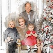 Charlene et Albert de Monaco: Carte de voeux originale avec Jacques et Gabriella