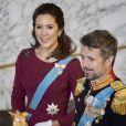 Le prince Frederik et la princesse Mary de Danemark le 3 janvier 2018 au palais de Christiansborg.