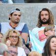 """Semi-Exclusif - Florent Manaudou et Jeremy Frérot assistent à la demi-finale du Top 14 """"Clermont - Racing 92"""" au stade Vélodrome à Marseille, le 27 mai 2017."""