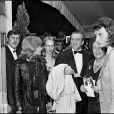 Nathalie Delon, Luchino Visconti et Johnny Hallyday au Festival de Cannes en 1971