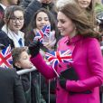"""Le prince William, duc de Cambridge, et sa femme Kate Middleton (enceinte) lors d'une visite de la ville de Coventry le 16 janvier 2018, dans le cadre de l'opération """"city's 2021 Culture Honour""""."""