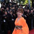 """Victoria Abril (robe Gemy Maalouf) - Montee des marches du film """"The Immigrant"""" lors du 66eme festival du film de Cannes. Le 24 mai 2013"""