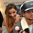 Exclusif - Denitsa Ikonomova et Rayane Bensetti lors de la soirée Experience PlayStation VR à Paris, le 13 octobre 2016. © Veeren/Bestimage
