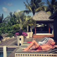 Yaël Abrot immortalise Johnny Hallyday au bord de la piscine de sa villa de Saint-Barthélemy, le 30 août 2017.