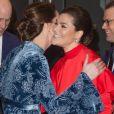 La duchesse Catherine de Cambridge, enceinte et en robe Erdem, et le prince William prenaient part le 31 janvier 2018 à un gala culturel en compagnie de la princesse Victoria et du prince Daniel de Suède à la galerie Fotografiska à Stockholm.