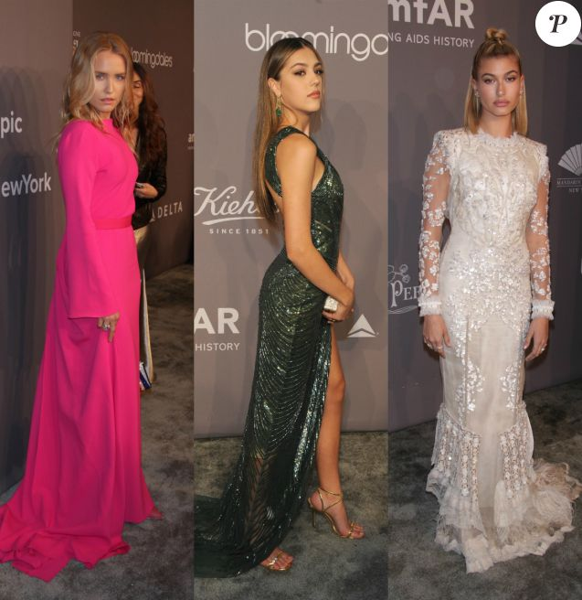 "Sailor Brinkley Cook, Sistine Stallone et Hailey Baldwin au gala ""amfAR Gala New York"" au Cipriani Wall Street. New York, le 7 février 2018."