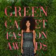 "Tina Kunakey - Photocall de la soirée ""Green Carpet Fashion Awards"" lors de la fashion week de Milan. Le 24 septembre 2017"