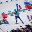 Martin Fourcade décroche la médaille d'or à Pyeongchang en poursuite 12,5 km du biathlon en Corée du sud, le 12 février 2018.