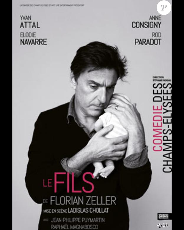 """Yvan Attal, Rod Paradot, Anne Consigny et Elodie Navarre dans """"Le Fils"""" de Florian Zeller, à la Comédie des Champs-Elysées jusqu'au 14 juillet 2018."""