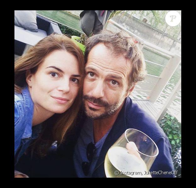 Juliette Chêne et Jean-Charles Chagachbanian amoureux à Paris le 28 septembre 2016.
