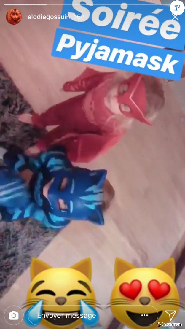 Les plus jeunes enfants d'Elodie Gossuin ont participé à une soirée un peu spéciale. Joséphine et Léonard ont eu le droit de se déguiser. Février 2018.