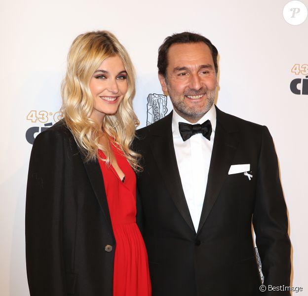 Gilles Lellouche et sa compagne Alizée Guinochet - Photocall lors de la 43ème cérémonie des Cesar à la salle Pleyel à Paris, le 2 mars 2018. © Dominique Jacovides - Olivier Borde / Bestimage