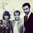 Anna Wintour, Brigitte Macron et son styliste  Mathieu Barthelat Colin à l'Elysée le 5 mars 2018