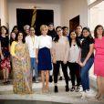 La première dame Brigitte Macron (Trogneux) lors d'une rencontre avec les représentants de l'UNICEF à l'ambassade de France à New Delhi le 11 mars 2018. © Eliot Blondet / Pool / Bestimage