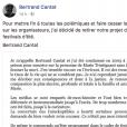 La lettre de Bertrand Cantat publiée sur Facebook, le 12 mars 2018.