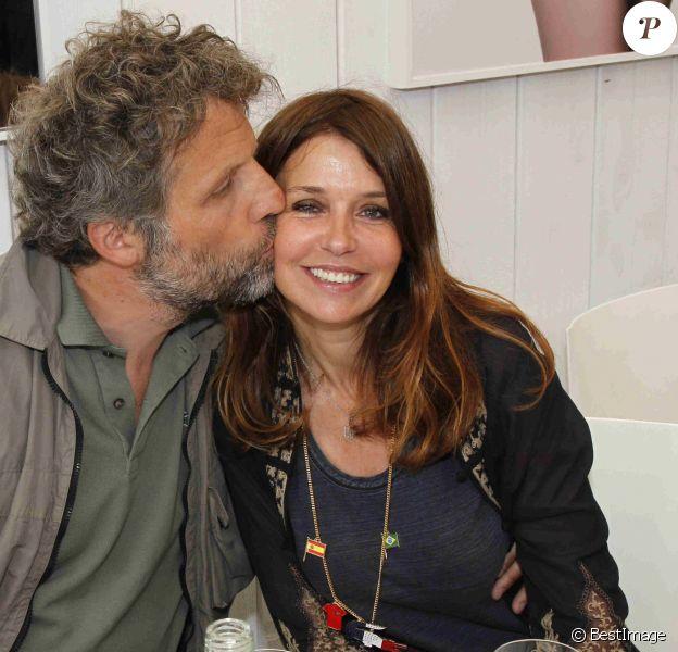 Stéphane Guillon et sa femme Muriel Cousin à Roland Garros en 2012