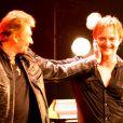 Johnny Hallyday et son fils David Hallyday à La cigale, le 17 mars 2008.