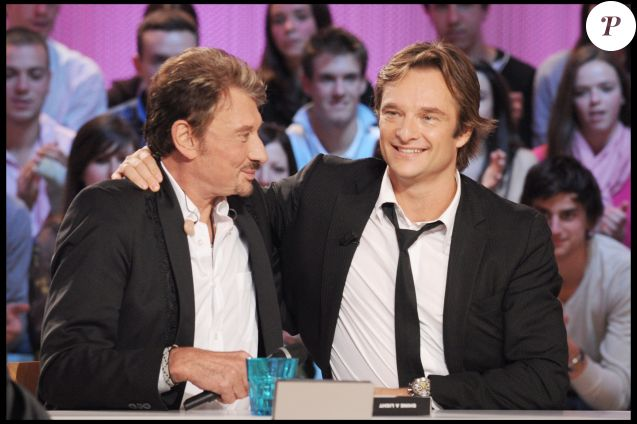 Johnny Hallyday et son fils David Hallyday au Grand Journal le 23 octobre 2008.