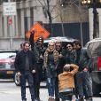 """Exclusif - Prix Spécial - No web - No blog - Sébastien Farran, Maxim Nucci (Yodelice), Laeticia Hallyday, Johnny Hallyday, Mr. Brainwash (MBW) de son vrai nom Thierry Guetta, Jean Claude Sindres - Laeticia Hallyday, son mari Johnny Hallyday, et leurs amis réunis à New York le 21 mars 2015, lors du dernier jour des festivités à l'occasion de l'anniversaire de Laeticia qui fête ses 40 ans. Après avoir déjeuné au restaurant """"TAO"""", ils ont pris un bateau pour descendre l'Hudson de 18h à 20h30 avec une fanfare. Ils ont ensuite été dîner au restaurant """"Happy Ending"""" vers 21h30.21/03/2015 - New York"""