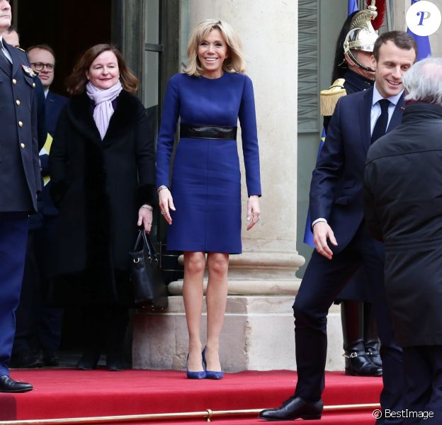 Le président de la République Emmanuel Macron et sa femme la Première Dame Brigitte Macron (Trogneux) recevant le grand-duc et la grande-duchesse de Luxembourg au palais de l'Elysée à Paris, France, le 19 mars 2018. © Stéphane Lemouton/Bestimage