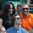 Amel Bent et son ami Patrick Antonelli, Sofia Essaïdi - People aux Internationaux de France de tennis de Roland Garros à Paris, le 5 juin 2014.