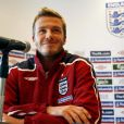 David Beckham donne une conférence de presse à l'Hotel Grove en Angleterre le 26 Mars 2009.
