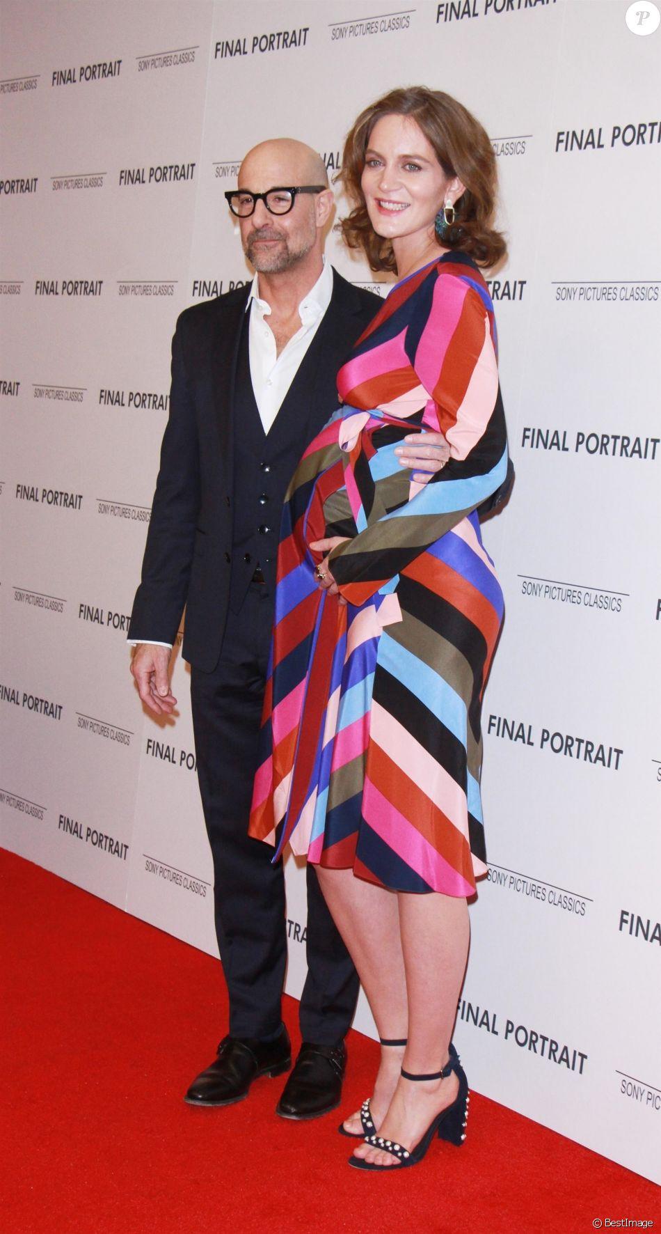 Stanley Tucci, Felicity Blunt enceinte à la première de 'Final Portrait' au musée Solomon R. Guggenheim à New York, le 22 mars 2018