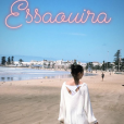 Pauline Ducruet se promène sur la plage à Essaouira au Maroc après l'arrivée du Rallye Aïcha des Gazelles, image extraite de sa story Instagram du 3 avril 2018.