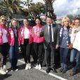 Kiera Chaplin, Jazmin Grace Grimaldi, Pauline Ducruet, Schanel Bakkouche, Christian Estrosi, Dominique Serra (organisatrice du Rallye Aïcha des Gazelles) et la princesse Stéphanie de Monaco lors du départ du 28e Rallye Aïcha des Gazelles du Maroc sur la Promenade des Anglais à Nice le 17 mars 2018.