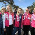 Kiera Chaplin, Jazmin Grace Grimaldi, Pauline Ducruet et Schanel Bakkouche au départ du 28e Rallye Aïcha des Gazelles du Maroc sur la Promenade des Anglais à Nice le 17 mars 2018.