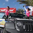 Pauline Ducruet et Schanel Bakkouche au départ du 28e Rallye Aïcha des Gazelles du Maroc sur la Promenade des Anglais à Nice le 17 mars 2018.
