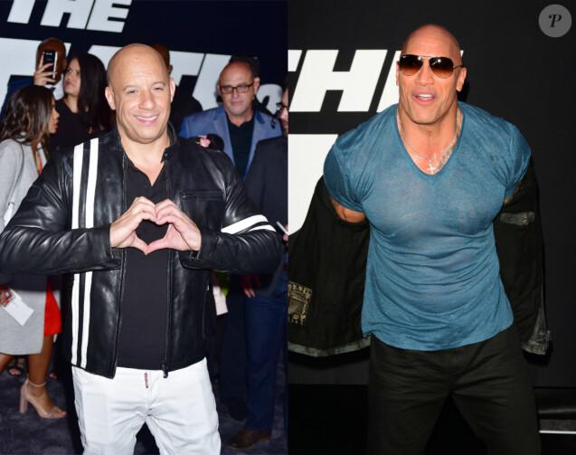 Vin Diesel et Dwayne Johnson à New York le 9 avrril 2017, lors de l'unique première de Fast & Furious 8 que les deux acteurs ont fait ensemble.