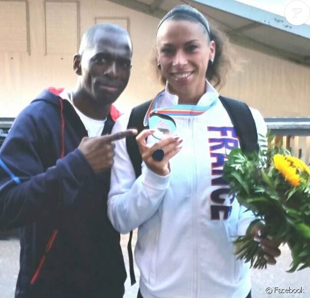 Giscard Samba pose avec Cindy Billaud sur Facebook après son titre de vice championne d'Europe. Facebook le 14 août 2014.