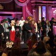 """Les Talents de """"The Voice 7"""" à Disneyland Paris, le 15 avril 2018 avec les enfants de l'association """"Tout le monde contre le cancer"""". Ici au Lucky Nugget Saloon."""