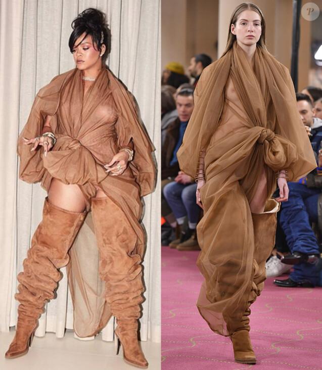 Rihanna porte un look Y/PROJECT, collection prêt-à-porter automne-hiver 2018-2019.