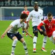 Benjamin Pavard, Paul Pogbaet Denis Cheryshev - Match amical international de football, France contre Russie à Saint-Pétersbourg, Russie, le 27 mars 2018. La France gagne le match 3-1.