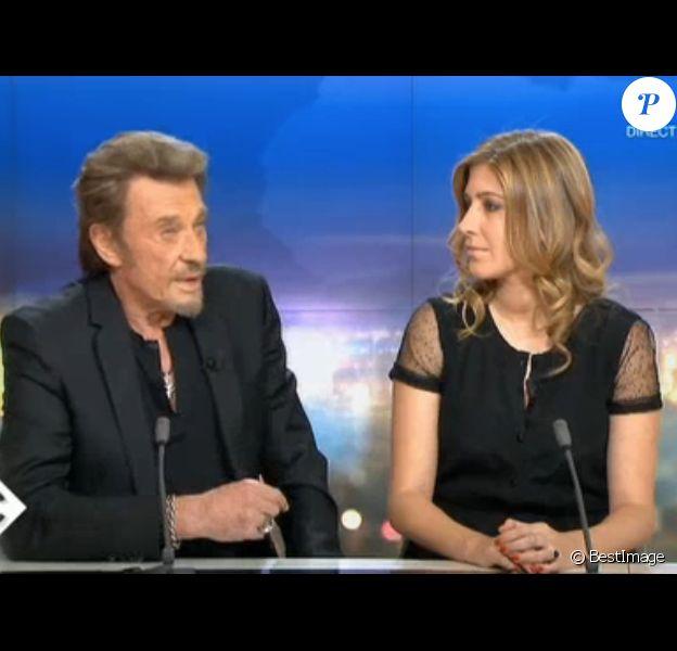 Exclusif - Johnny Hallyday et Amanda Sthers au JT de France 2 presente par Laurent Delahousse, le 9 février 2013.
