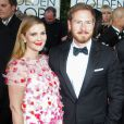 Drew Barrymore enceinte et son mari Will Kopelman - 71eme ceremonie des Golden Globe Awards a Beverly Hills, le 12 janvier 2014.