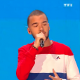 """Bigflo et Oli lors du deuxième live de """"The Voice 7"""" (TF1) samedi 28 avril 2018."""