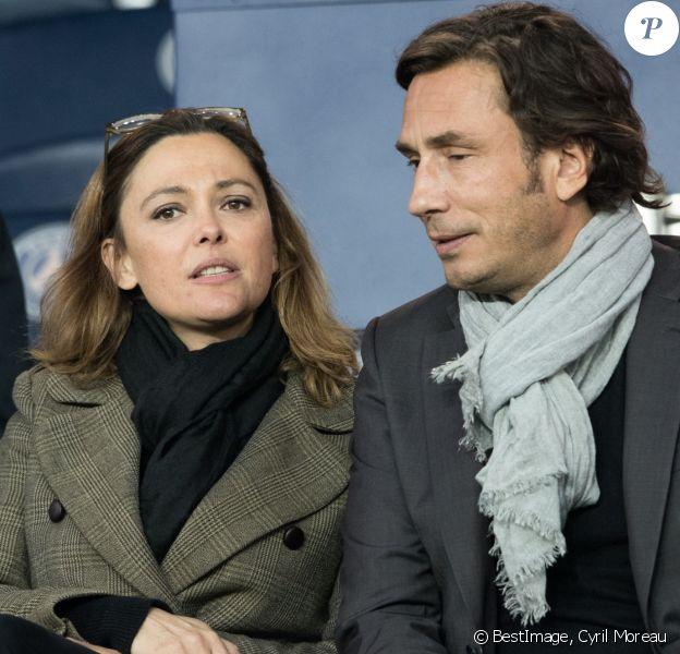 Sandrine Quétier et son compagnon Sébastien Goales dans les tribunes du Parc des Princes lors du match du Paris Saint-Germain (PSG) contre l'En Avant Guingamp (EAG) à Paris, le 29 avril 2018 (score final : 2-2). © Cyril Moreau/Bestimage