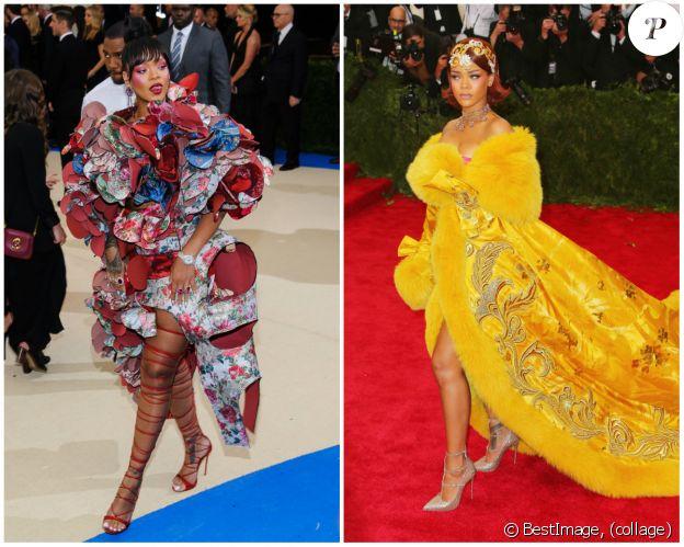 Rihanna au Met Gall en 2017 (gauche) et 2015 (droite) à New York.