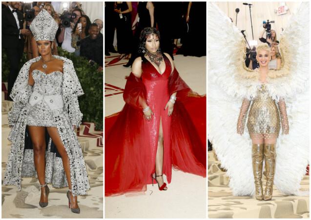 Rihanna, Nicki Minaj et Katy Perry au Met Gala à New York, le 7 mai 2018. © Charles Guerin / Bestimage