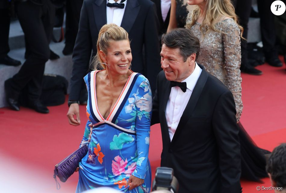 """Christian Estrosi et sa femme Laura Tenoudji - Montée des marches du film """"Everybody Knows"""" lors de la cérémonie d'ouverture du 71ème Festival International du Film de Cannes. Le 8 mai 2018 © Borde-Jacovides-Moreau/Bestimage"""