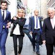 La Première Dame Brigitte Macron (Trogneux) accompagnée de Tristan Bromet, chef de cabinet rejoignent le président de la République au restaurant, à Aix-la-Chapelle, Allemagne, le 9 mai 2018. © Stéphane Lemouton/Bestimage