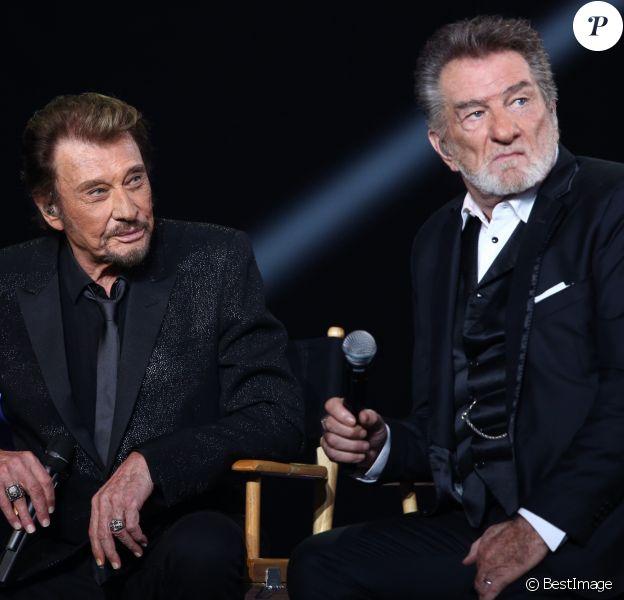 """Exclusif - Eddy Mitchell et Johnny Hallyday - Enregistrement de l'émission """"Johnny, la soirée événement"""", pour TF1, décembre 2014"""